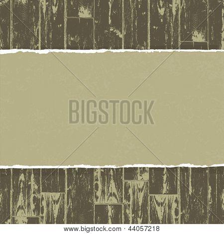 Papel rasgado em fundo de madeira. Vetorial, EPS10