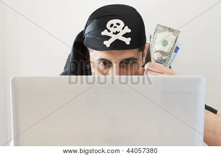 hacker watching and stealing virtual money in dollar US