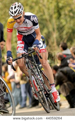 BARCELONA - MARCH, 24: Tim Wellens Lotto-Belisol rides alone during the Tour of Catalonia cycling race through the streets of Monjuich mountain in Barcelona on March 24, 2013
