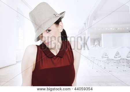Beautiful Trendy Woman With Hat