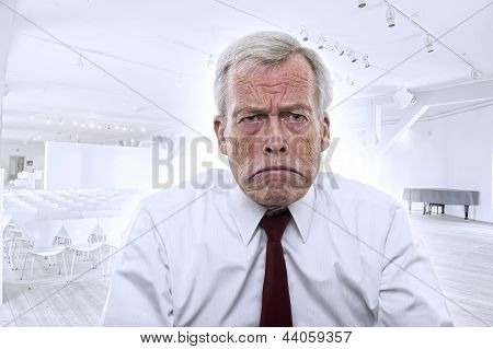 Upset Caucasian Businessman With Huge Frown