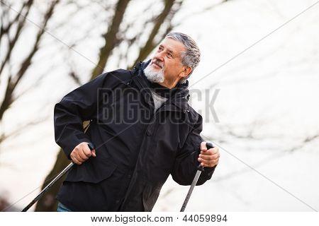 Senior hombre nordic walking, disfrutar del aire libre