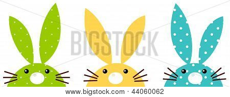 Cute Colorful Patterned Bunny Set Isolated On White
