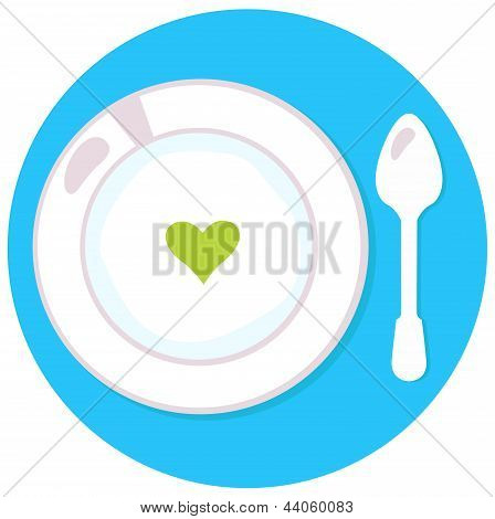 Healthy Soup With Heart Isolated On Blue Circle Background