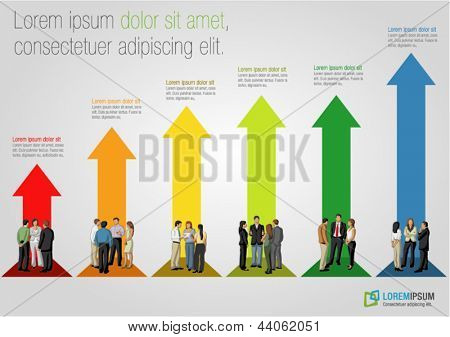 Template for advertising brochure with business people over arrow bar chart