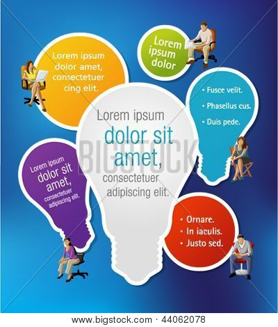 Colorful template with business people on chairs with light bulb ideas