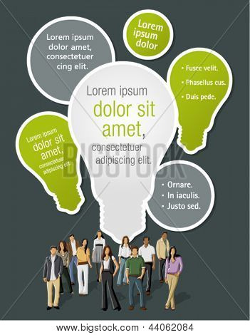 Green template with business people with light bulb ideas