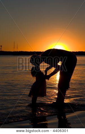 Mother & Daughter Sunset Silhouette 3