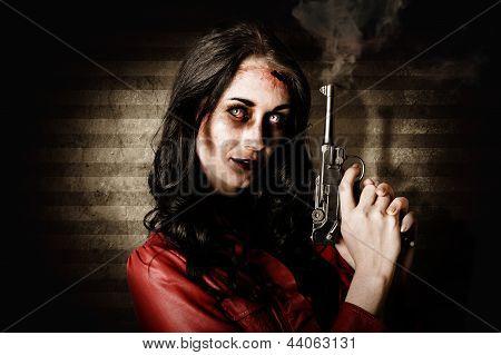 Dead Private Eye Detective Holding Smoking Gun