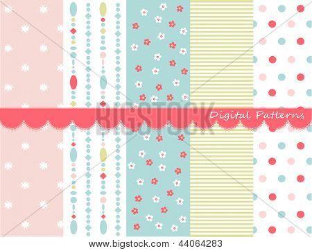Digital patterns, scrapbook set