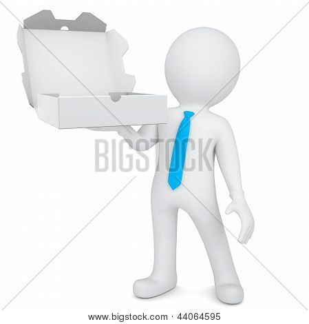 3d white man with an open box of a pizza