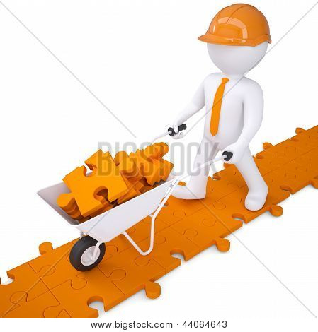 3d man in helmet carry in wheelbarrow clay puzzles