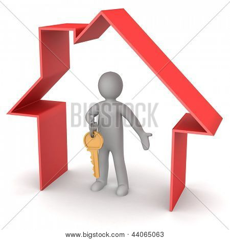 Presentation of new house. 3d man holds the key, and is within the red icon house