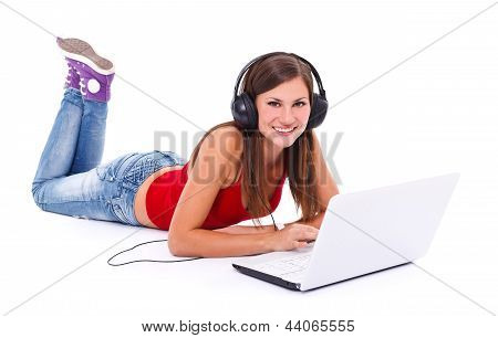 Girl In Headphone With Laptop