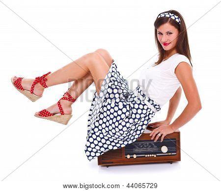 Retro Girl On Retro Radio