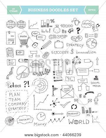 Doodle de negocio conjunto de elementos