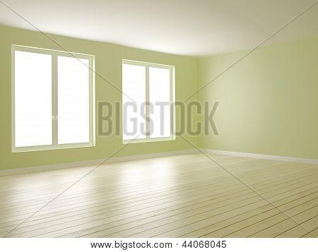 Habitación verde con dos ventanas
