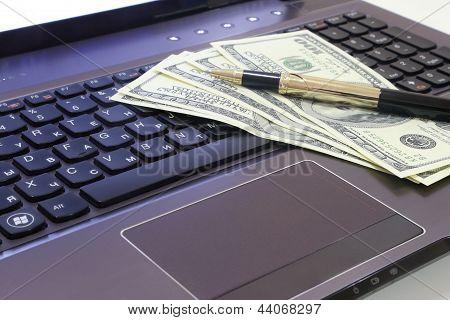 computer, money, pen