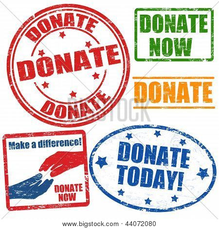 Set Of Donate Stamps