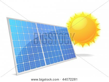 illustration of a panel with solar cells and reflection, eps10 vector