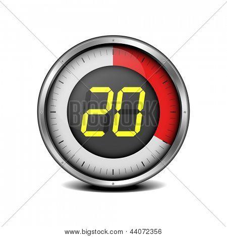 illustration of a metal framed timer with the number 20, eps10 vector