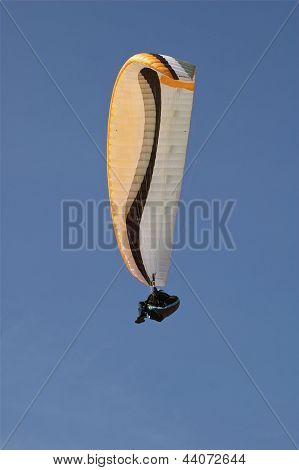 Close Up Single Hang-Glider In Sky