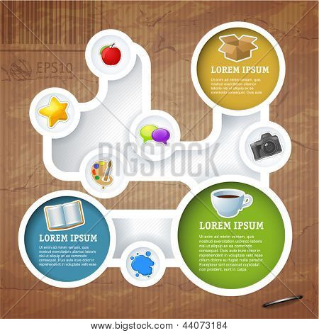 Retro style website loop template, Vector design frame.