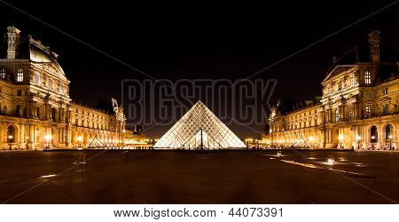 Glass Pyramid Of Louvre, Paris At Night