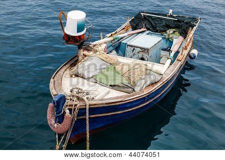 Fisherman Boat Docked At Harbor In Senj, Croatia
