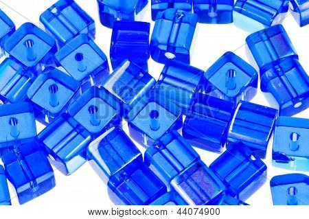 Blue Glass Cubic Bugles Close Up