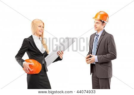 Female architect and investor having a conversation isolated against white background