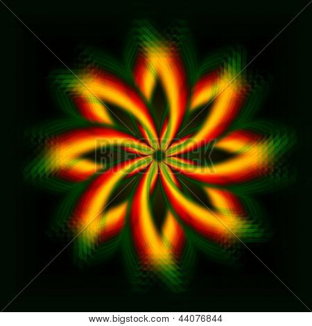 Shining Yellow Flower, Rainbow Lights In Circles