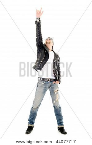 heavy metal star making a rock and roll gesture