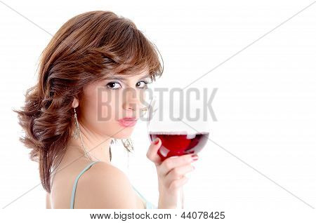 Portrait of young woman with glass of wine