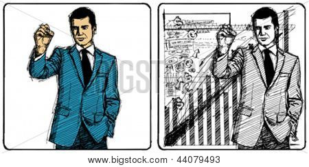 Vector Sketch, comics style male writing something on glass board with marker