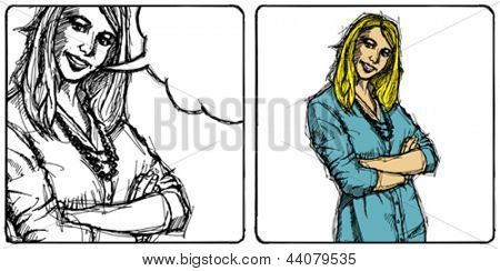 Vector Sketch, comics style young business woman with crossed hands