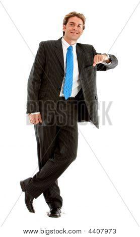 Businessman Leaning On Something