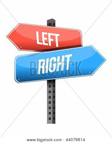 Left, Right Road Sign Illustration Design