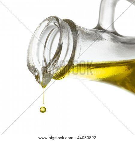 Olive oil drop close up
