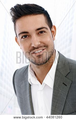 Close-up portrait of young businessman outdoor