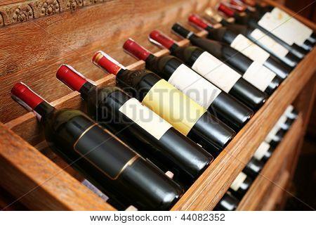 Closeup shot of wineshelf.