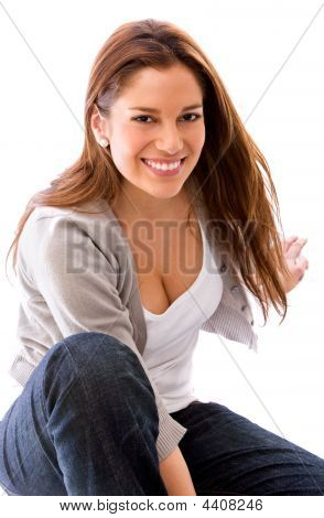Casual Woman Sitting On The Floor