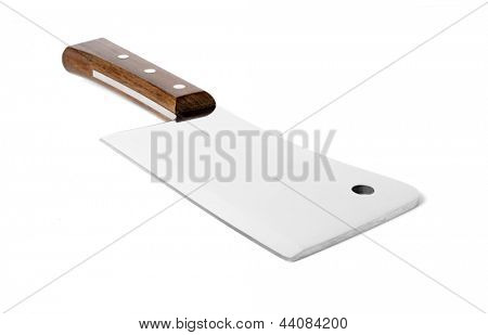 Kitchen hatchet with wooden handle isolated on white background.