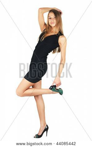elegant fashion woman in black dress isolated over a white background
