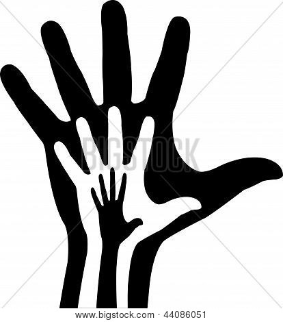 hands in hand, vector