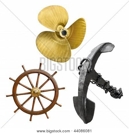 Vintage Ship Parts On White