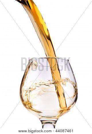 Das Glas mit Spritzer Brandy