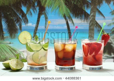 summer alcoholic cocktails with  fruits