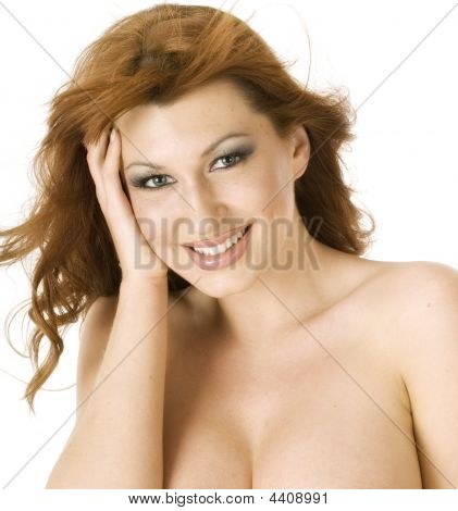 Beautiful Topless Redheaded Woman Smiling Happliy