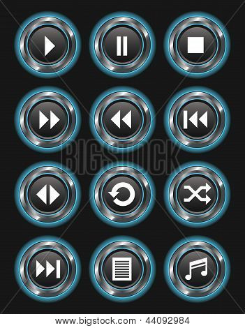 Blue Glowing Metallic Media Buttons